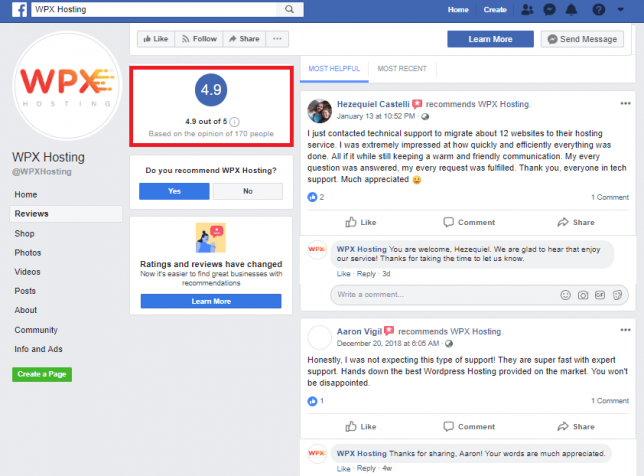 wpx hosting facebook reviews